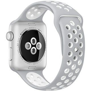 Apple Watch Nike+ 42mm Silver Aluminum Case with Silver/White Nike Sport Band (MNNT2), Silver