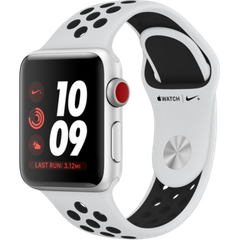 Apple Watch Series 3 Nike+ (GPS+LTE) 38mm Silver Aluminum Case with Pure Platinum/Black Nike Sport Band (MQL52)