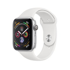Apple Watch Series 4 (GPS) 44mm Silver Aluminum Case with White Sport Band (MU6A2)
