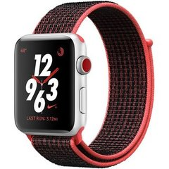 Apple Watch Series 3 Nike+ (GPS+LTE) 42mm Silver Aluminum Case with Bright Crimson/Black Nike Sport Loop (MQLE2)
