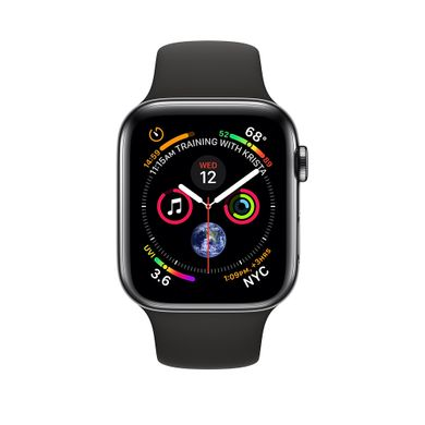 Apple Watch Series 4 (GPS+LTE) 44mm Space Black Stainless Steel Case with Black Sport Band (MTV52)