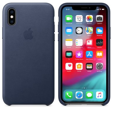 Чехол кожанный Apple iPhone XS Leather Case (MRWN2) Midnight Blue