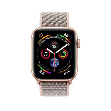 Apple Watch Series 4 (GPS) 44mm Gold Aluminum Case with Pink Sand Sport Loop (MU6G2)