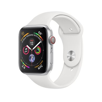 Apple Watch Series 4 (GPS+LTE) 44mm Silver Aluminum Case with White Sport Band (MTUU2)
