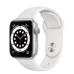 Apple Watch Series 6 44mm Silver Aluminum Case with White Sport Band (M00D3)