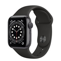 Apple Watch Series 6 40mm Space Gray Aluminum Case with Black Sport Band (MG133)