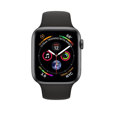 Apple Watch Series 4 (GPS+LTE) 44mm Space Gray Aluminum Case with Black Sport Band (MTUW2)
