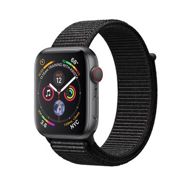 Apple Watch Series 4 (GPS+LTE) 44mm Space Gray Aluminum Case with Black Sport Loop (MTUX2)