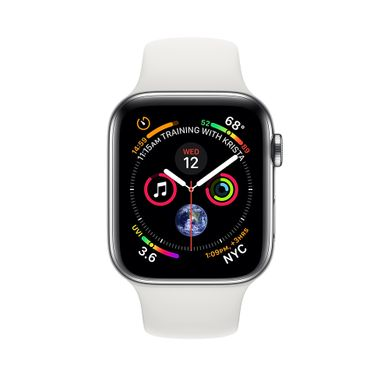 Apple Watch Series 4 (GPS+LTE) 40mm Stainless Steel Case with White Sport Band (MTUL2)