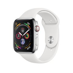 Apple Watch Series 4 (GPS+LTE) 44mm Stainless Steel Case with White Sport Band (MTV22)