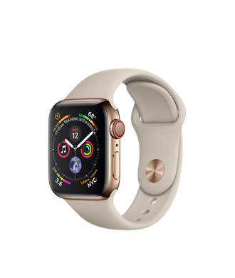 Apple Watch Series 4 (GPS+LTE) 40mm Gold Stainless Steel Case with Stone Sport Band (MTUR2)