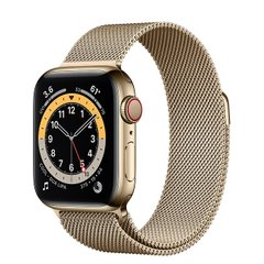 Apple Watch Series 6 (GPS + Cellular) 40mm Gold Stainless Steel Case with Milanese Loop (M02X3)